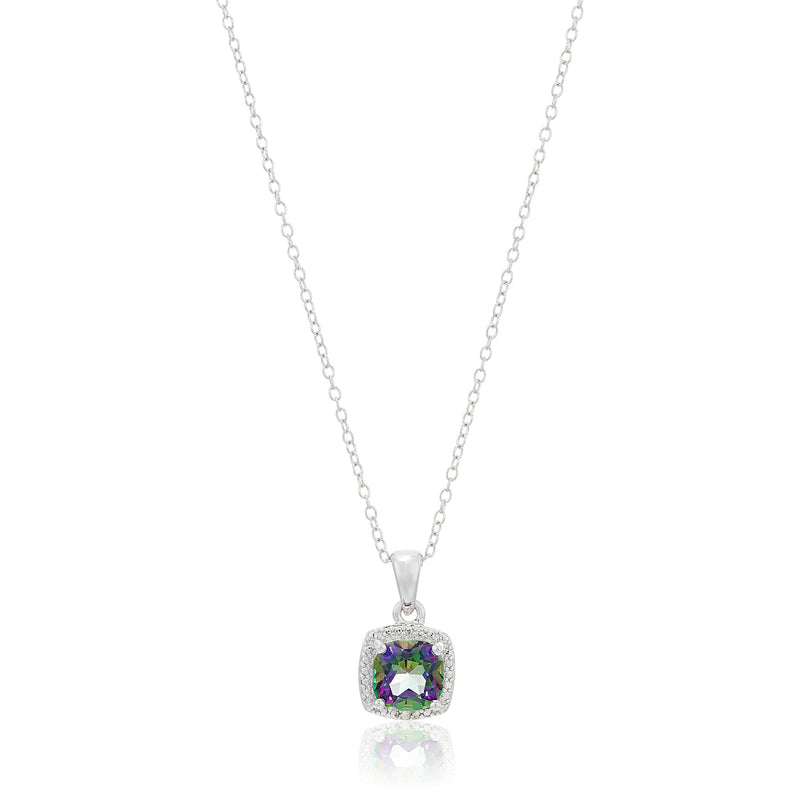 "Sterling Silver Cushion Mystic Topaz and Diamond Accented Halo Pendant Necklace, 18"" - pinctore"