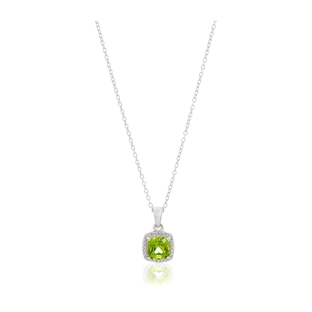 "Sterling Silver Cushion Peridot and Diamond Accented Halo Pendant Necklace, 18"" - pinctore"