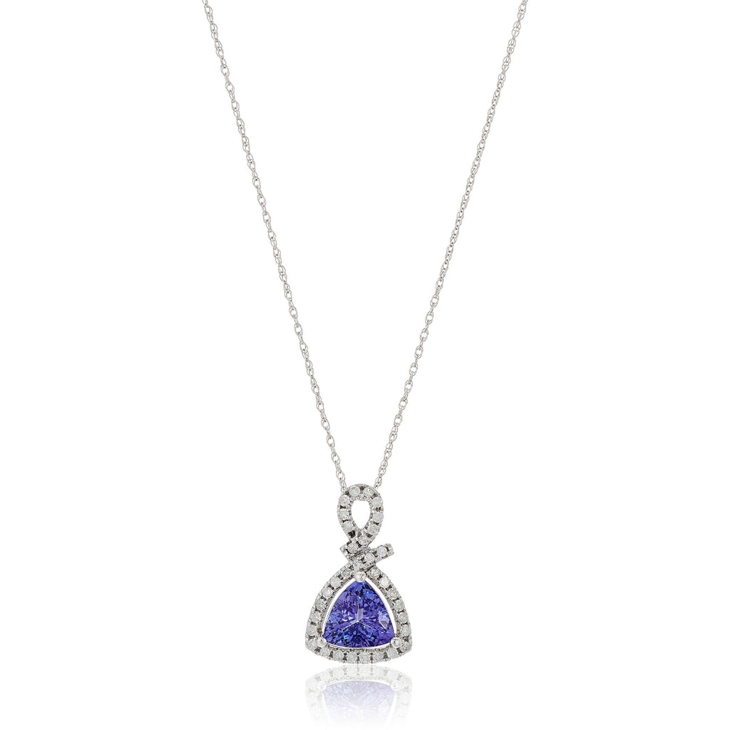 14k White Gold 1 cttw Trillion Tanzanite and Diamond Halo Pendant Necklace (1/4 cttw, I-J Color, Clarity I2-I3), 18""