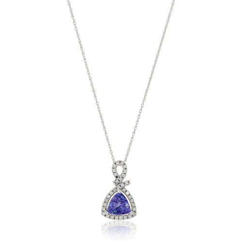 "14k White Gold 1 cttw Trillion Tanzanite and Diamond Halo Pendant Necklace (1/4 cttw, I-J Color, Clarity I2-I3), 18"" - pinctore"