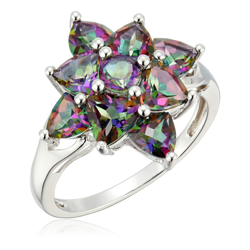 Sterling Silver Mystic Topaz Cluster Ring - pinctore