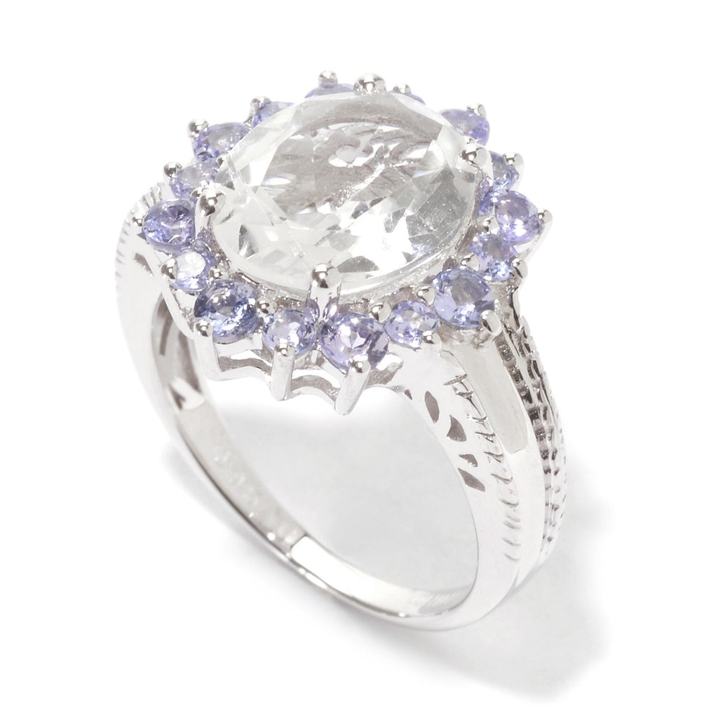 Pinctore Sterling Silver 5.97ctw White Topaz & Tanzanite Oval Halo Cocktail Ring - pinctore