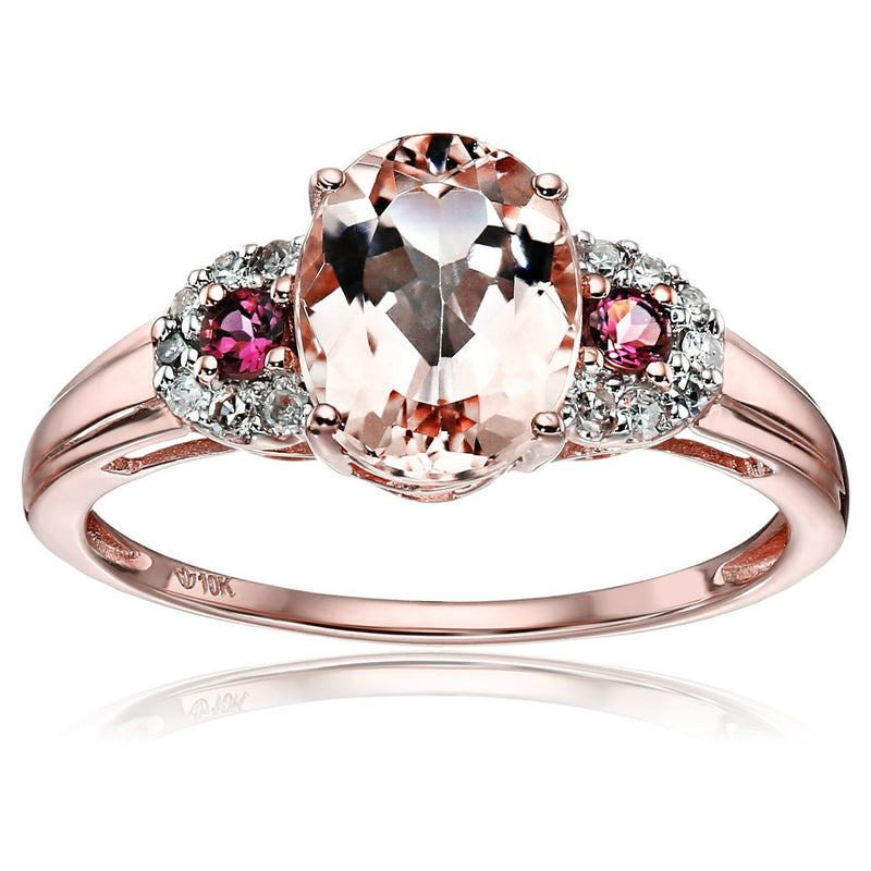 10k Rose Gold Morganite, Pink Tourmaline and Diamond 3-Stone Engagement Ring (1/10cttw, H-I Color, SI1-SI2 Clarity), - pinctore