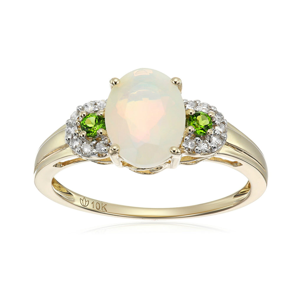 Pinctore 10k Yellow Gold Ethiopian Opal, Chrome Diopside & Diamond Ring - pinctore