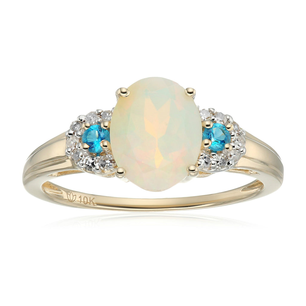 Pinctore 10k White Gold Ethiopian Opal, Diamond 3-Stone Engagement Ring - pinctore