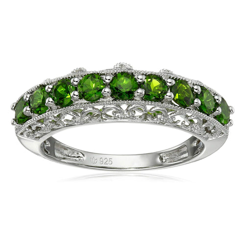 Sterling Silver Chrome Diopside Band Stackable Ring - pinctore