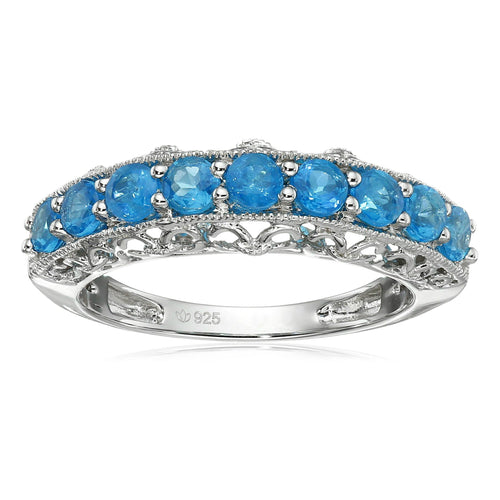 Sterling Silver Neon Apatite Band Stackable Ring - pinctore