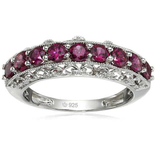 Sterling Silver Rhodolite Band Stackable Ring - pinctore