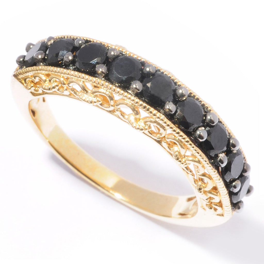 Pinctore 18K Yellow Gold o/Silver 1.28ctw Black Spinel Nine Stone Band Ring - pinctore