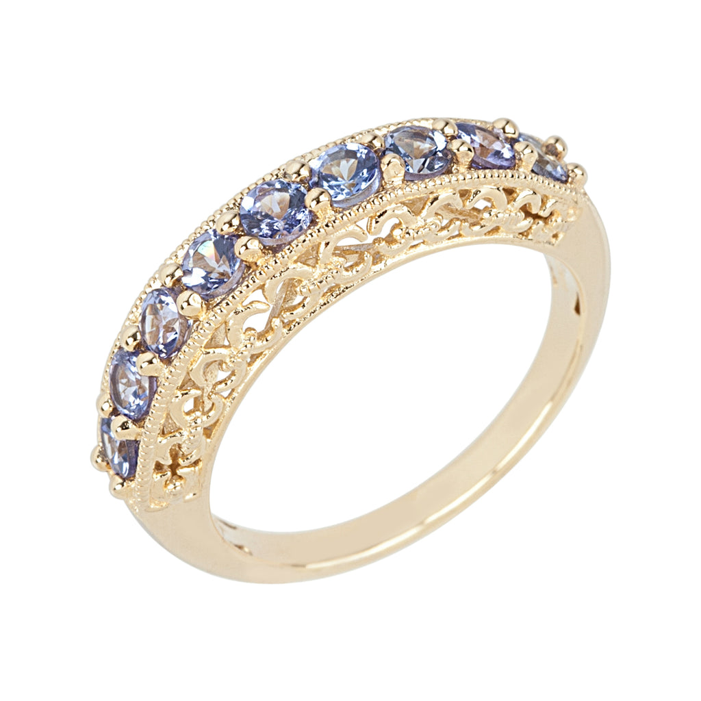 Yellow Gold-plated Silver Tanzanite 9-stone Stackable Ring - pinctore