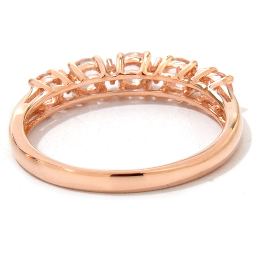 10k Rose Gold Morganite and Diamond Accented Stackable Ring