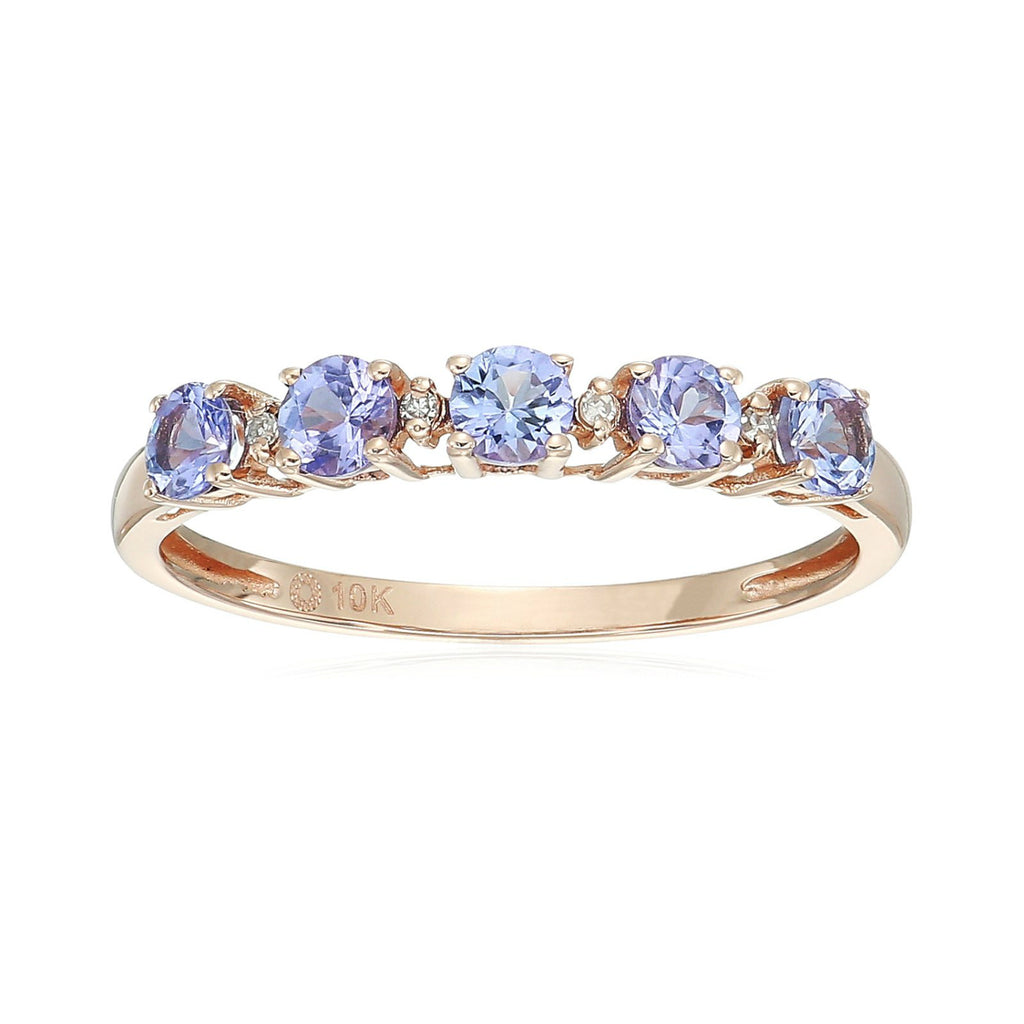 10k Rose Gold Tanzanite and Diamond Accented Stackable Ring - pinctore