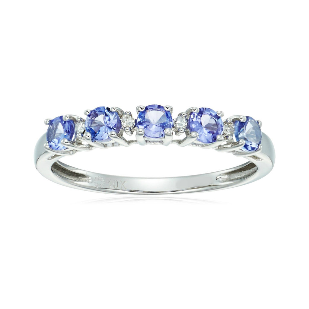 10k White Gold Tanzanite and Diamond Accented Stackable Ring - pinctore