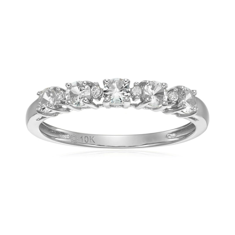 10k White Gold White Sapphire and Diamond Accented Stackable Ring - pinctore