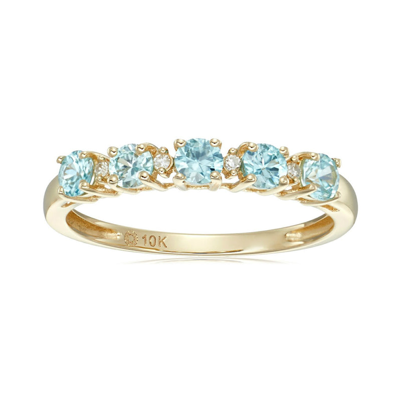 Pinctore 10k Yellow Gold Blue Zircon & Diamond Accented Stackable Ring - pinctore