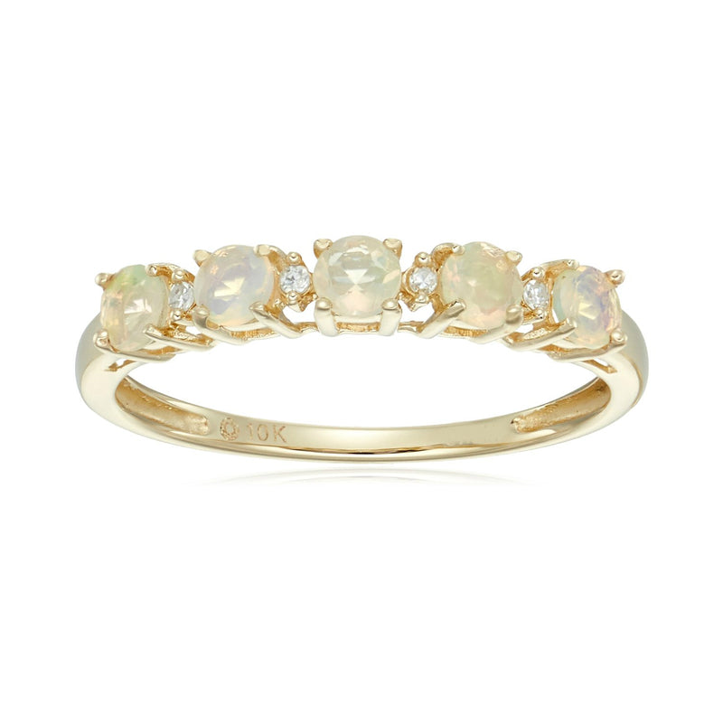 Pinctore 10k Yellow Gold Ethiopian Opal & Diamond Stackable Ring - pinctore