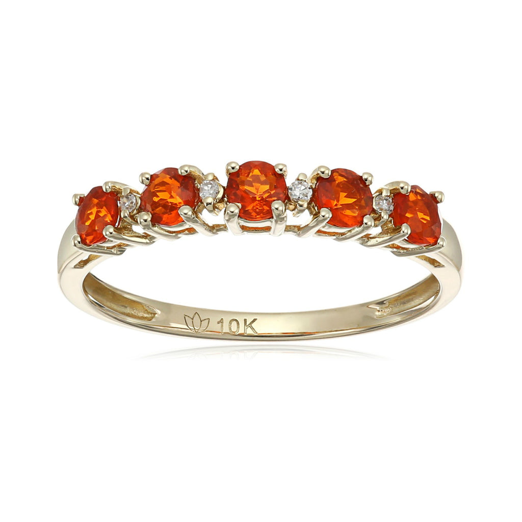 10k Yellow Gold Mexican Fire Opal and Diamond Accented Stackable Ring - pinctore