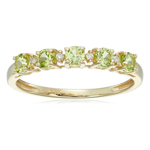 Pinctore 10k Yellow Gold Peridot Diamond Stackable Ring - pinctore