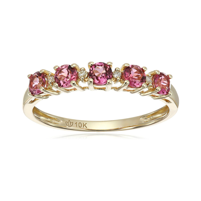 10k Yellow Gold Pink Tourmaline and Diamond Accented Stackable Ring - pinctore