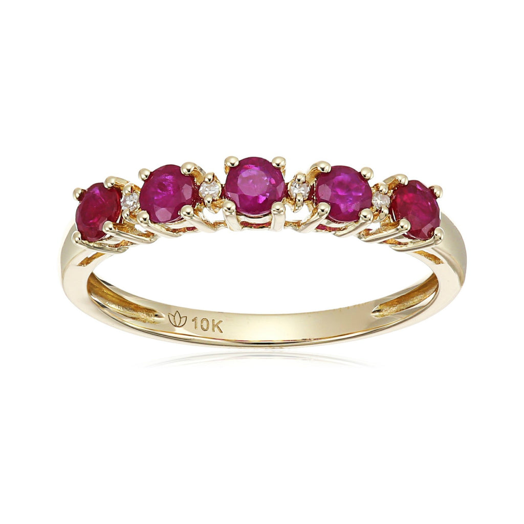 10k Yellow Gold Ruby and Diamond Accented Stackable Ring - pinctore