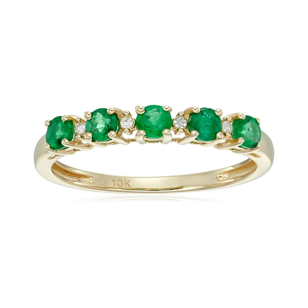 10k Yellow Gold Genuine Emerald and Diamond Accented Stackable Ring - pinctore