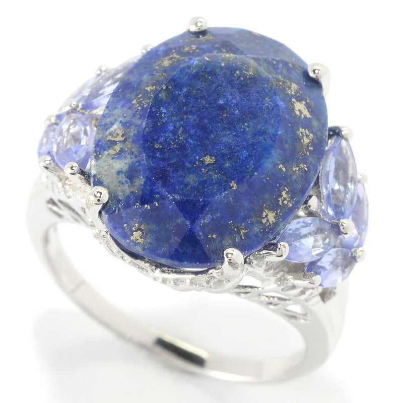 Pinctore Sterling Silver 10.5ctw Lapis Lazulli,Tanzanite & White Topaz Cocktail Ring - pinctore