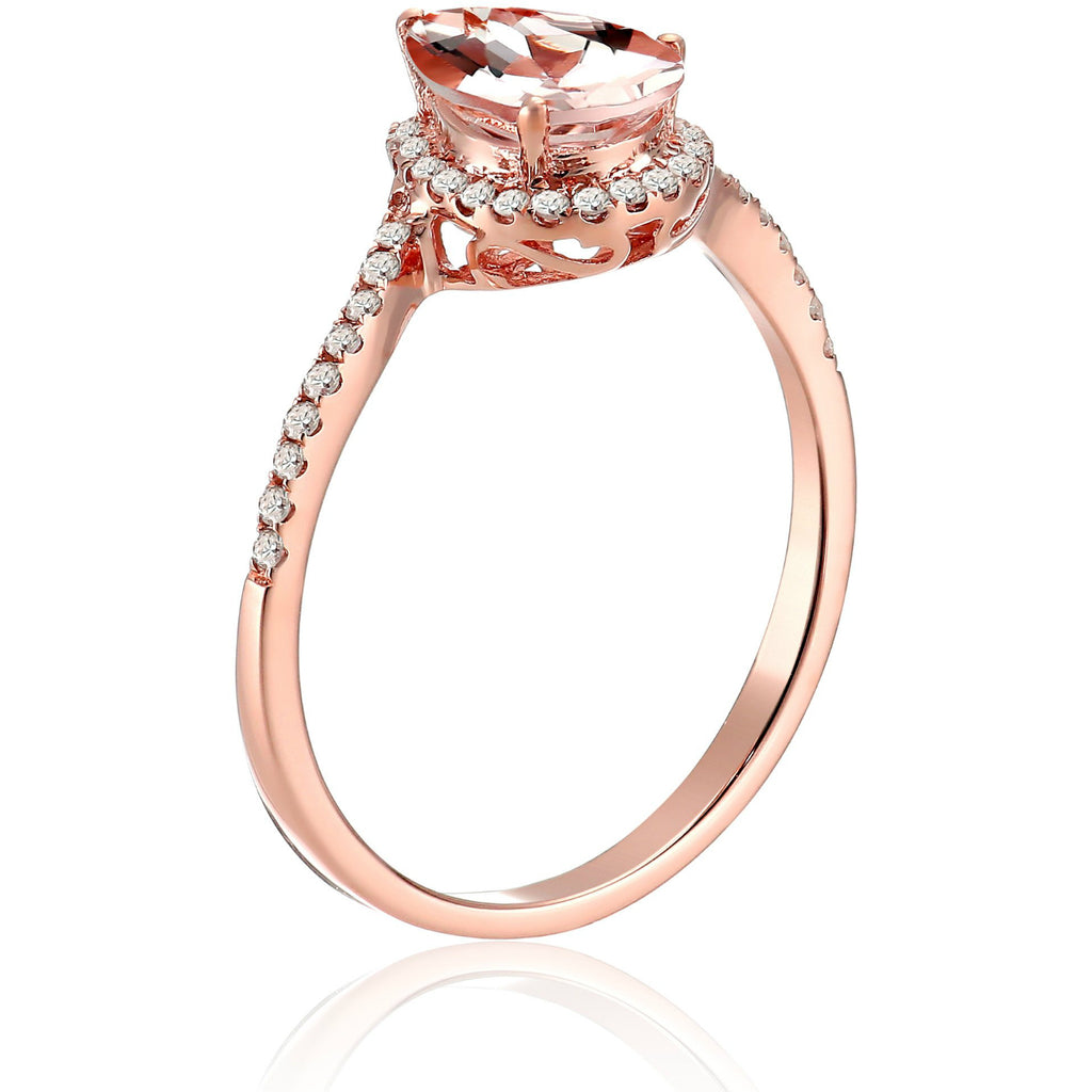 10k Rose Gold Morganite and Diamond Princess Diana Pear Shape Engagement Ring (1/10cttw, H-I Color, SI1-SI2 Clarity), - pinctore
