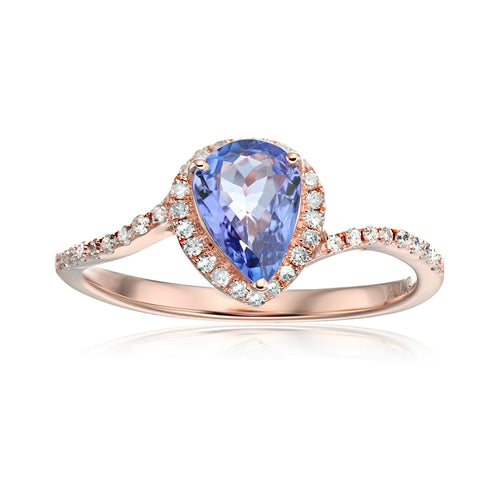 10k Rose Gold Tanzanite and Diamond Princess Diana Pear Shape Engagement Ring (1/5cttw, H-I Color, I1-I2 Clarity), - pinctore