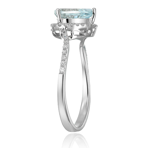 Pinctore 10k White Gold Aquamarine Diamond Engagement Ring - pinctore