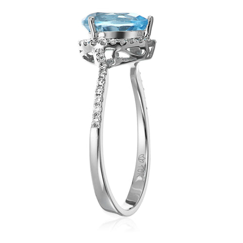 Pinctore 10k White Gold Swiss Blue Topaz Engagement Ring - pinctore
