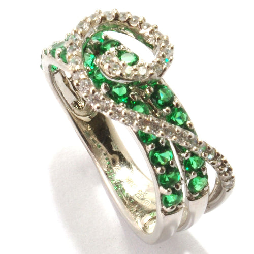 Pinctore Platinum o/Silver 1.28ctw Green Emerald Color CZ Swirl Ring - pinctore