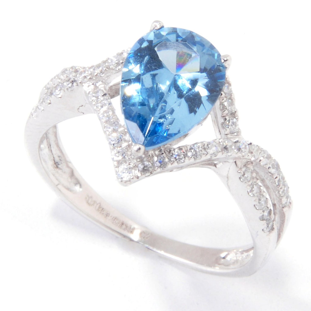 Pinctore Sterling Silver 2.23ctw Blue Color CZ Solitaire w/Accent Ring - pinctore