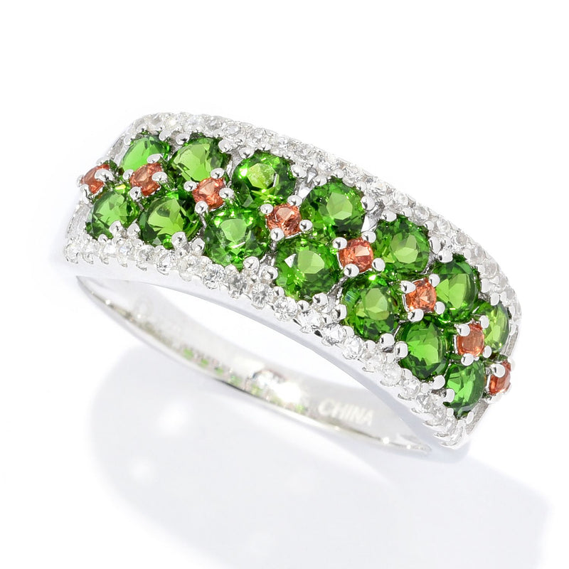 Pinctore Sterling Silver 1.37ctw Chrome Diopside & Multi Gem Band Ring - pinctore