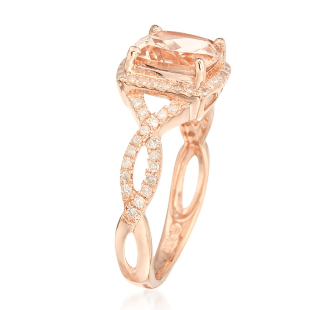 14k Rose Gold Morganite and Diamond Cushion Infinity Shank Engagement Ring (1/4cttw, H-I Color, SI1-SI2 Clarity), - pinctore