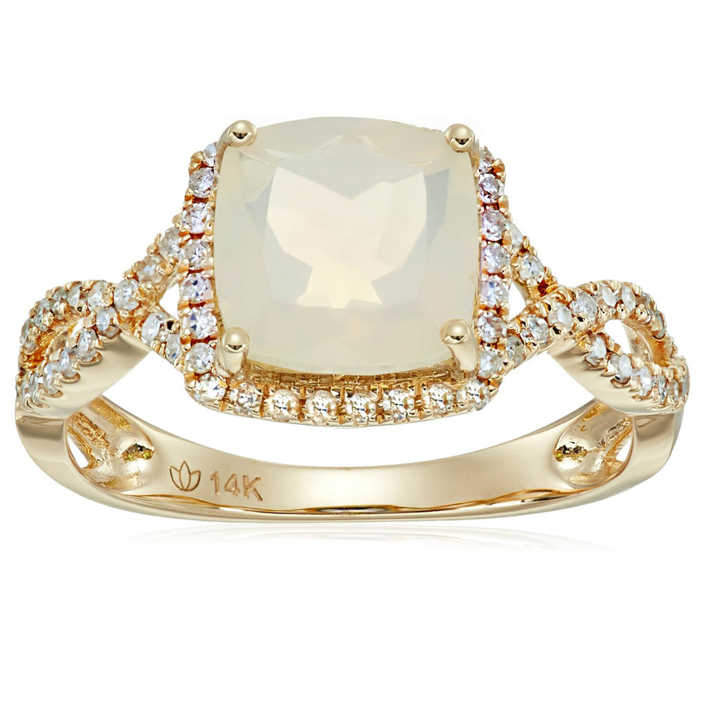 Pinctore 14k Yellow Gold Ethiopian Opal & Diamond Cushion Shank Ring - pinctore