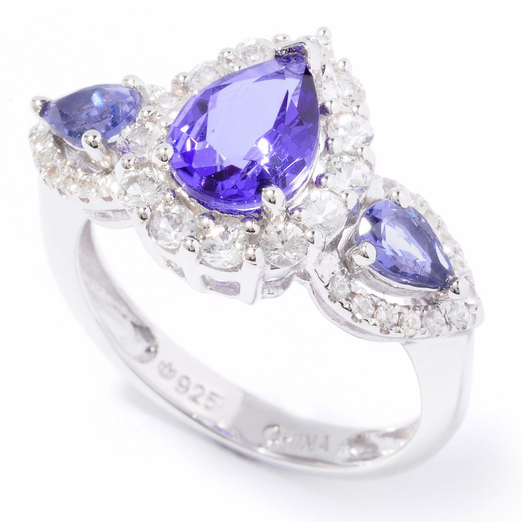 Pinctore Sterling Silver 1.98ctw Three Stone Tanzanite Doublet Ring - pinctore