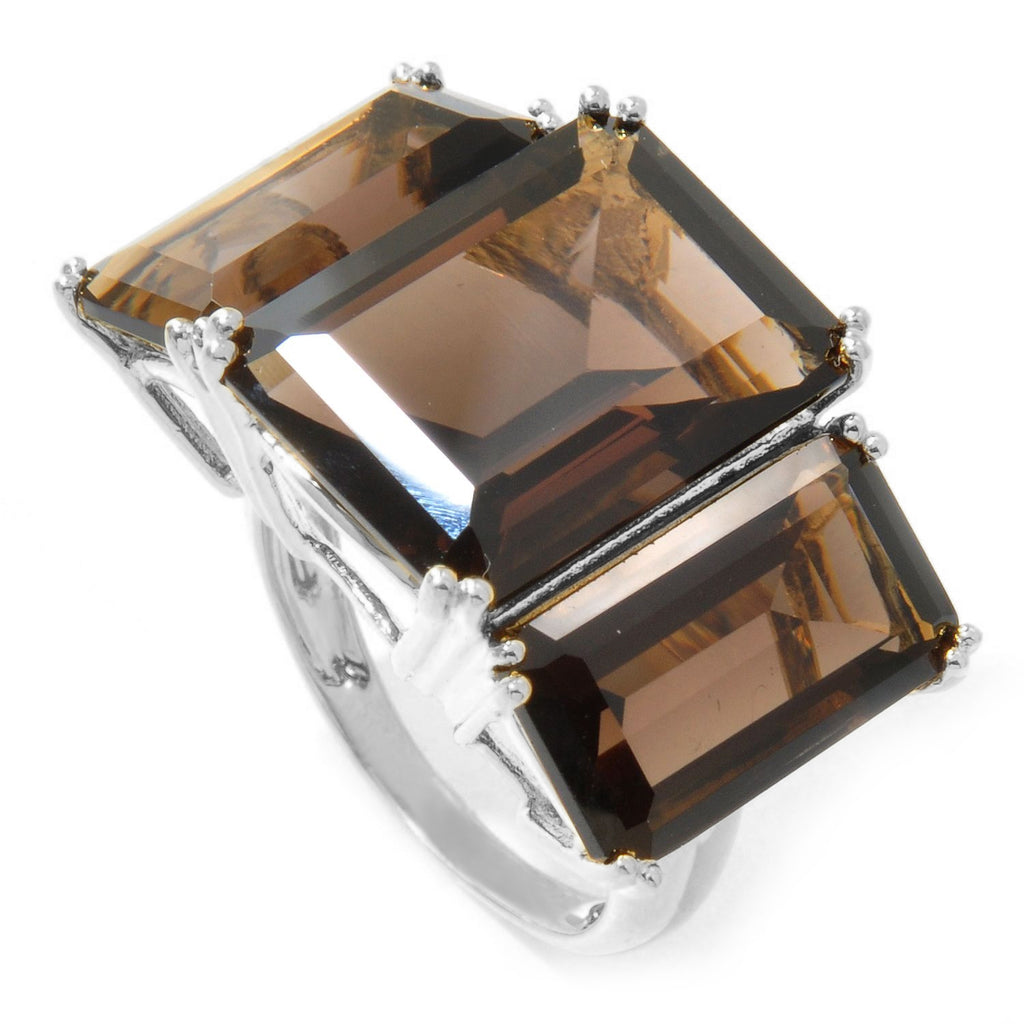 Pinctore Sterling Silver 20.2ctw Smoky Quartz Cocktail Ring - pinctore