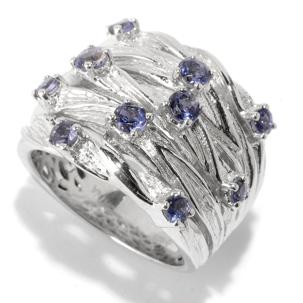 Pinctore Sterling Silver 0.69ctw Iolite Multi Row Textured Ring - pinctore