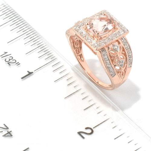 Pinctore 10k Rose Gold Morganite and Diamond Ring (1/3cttw, H-I Color, I1-I2 Clarity) - pinctore