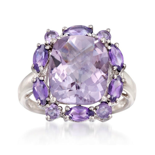 Pinctore Sterling Silver 6.07ctw Pink & African Amethyst Cluster Ring - pinctore