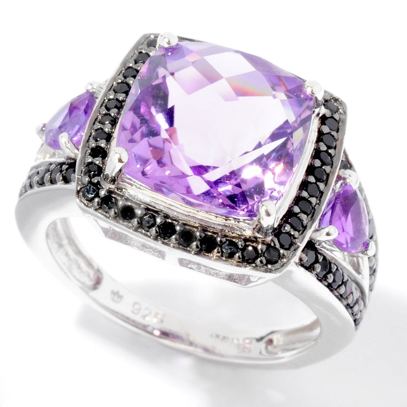 Pinctore SS/ 5.40ctw African Amethyst & Black Spinel Solitaire w/Accent Ring - pinctore