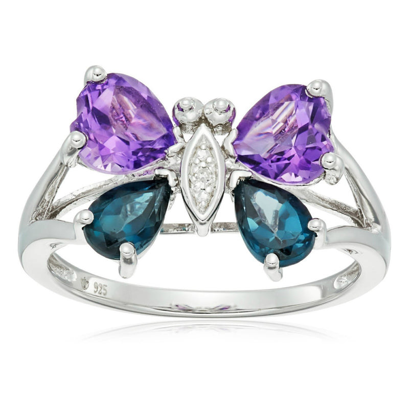 Pinctore Ster Silver African Amethyst, Blue Topaz, Diamond Butterfly Ring - pinctore