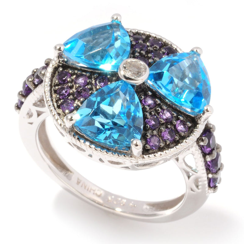 Pinctore Sterling Silver 4.62ctw Swiss Blue Topaz, African Amethyst Cluster Ring - pinctore