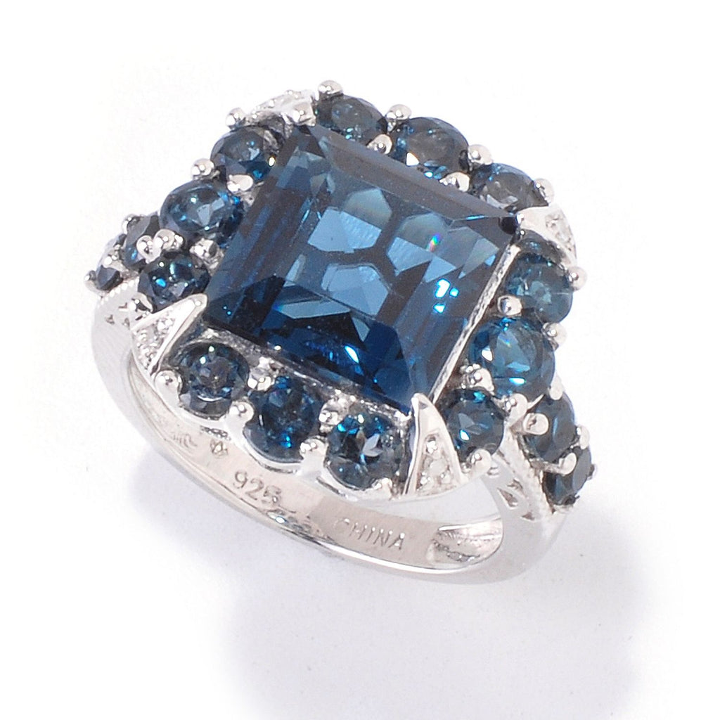 Pinctore Platinum o/Silver 8.29ctw London Blue Topaz & Diamond Cocktail Ring - pinctore