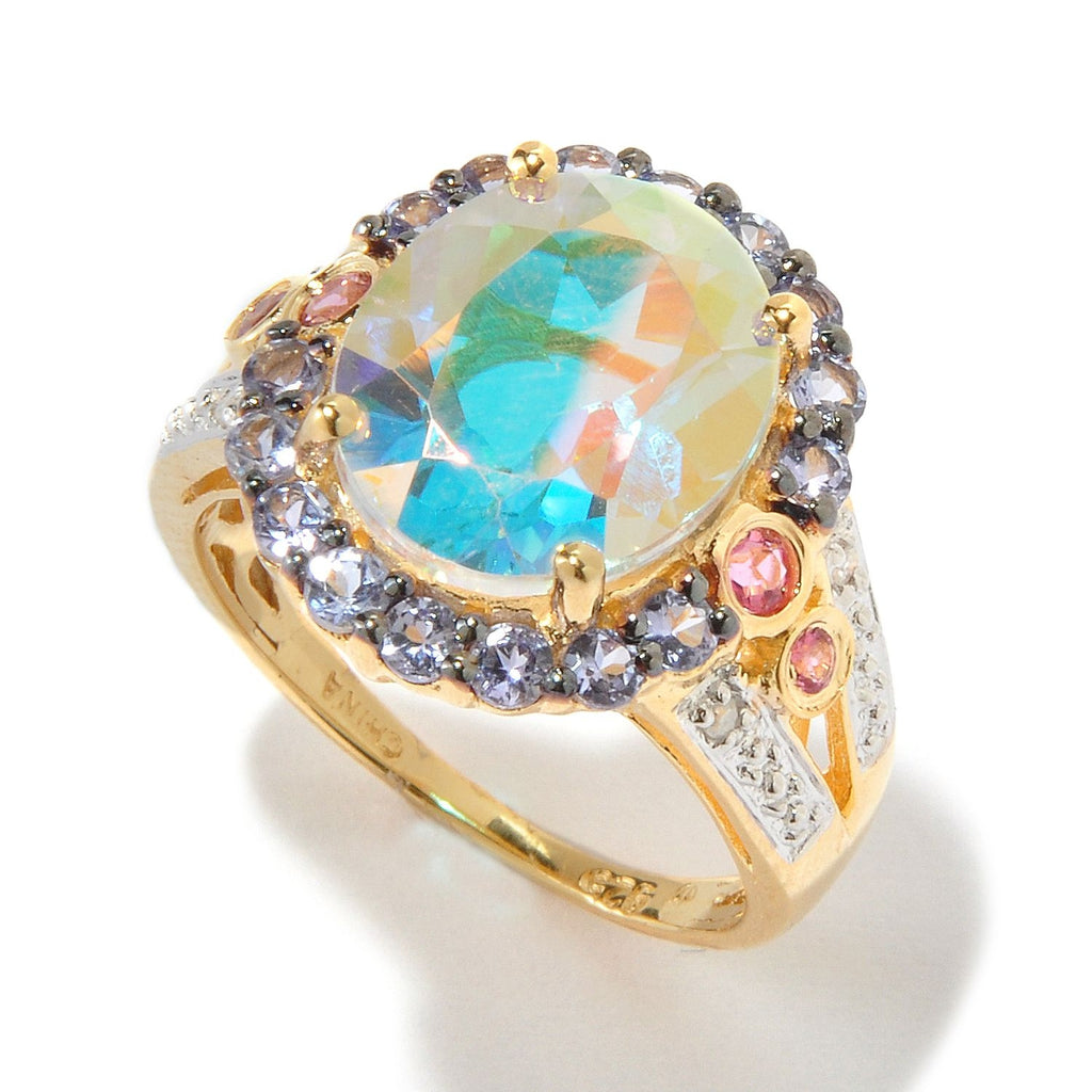 Pinctore 18K Yellow Gold Over Silver 6.55ctw Opal Topaz Cocktail Ring - pinctore