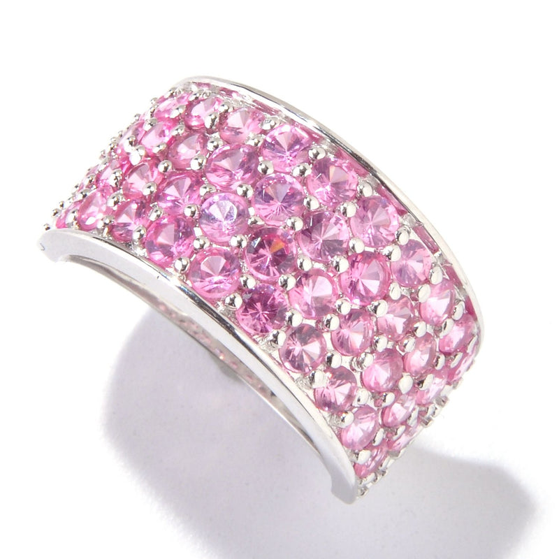 Pinctore Sterling Silver 2.39ctw Pink Spinel Cluster Ring - pinctore