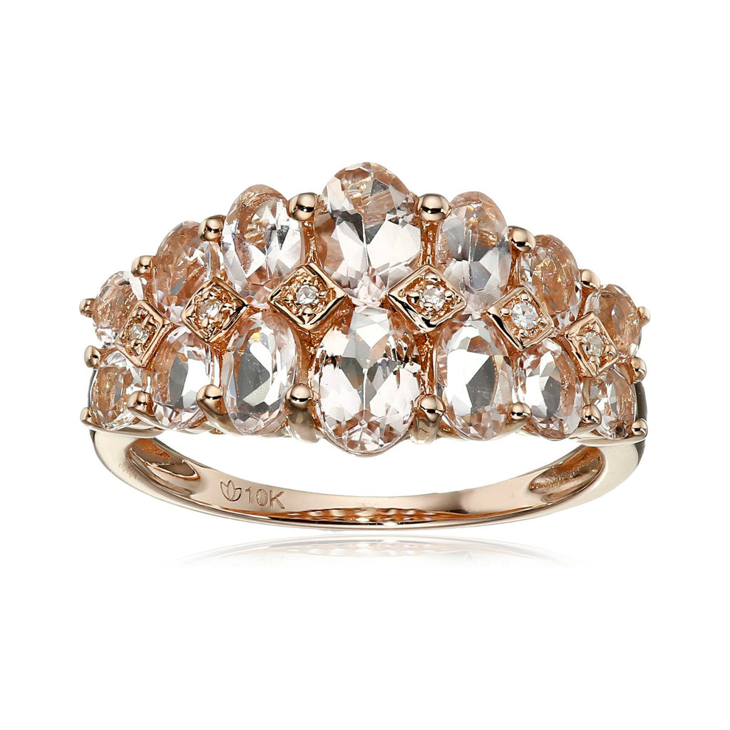 10k Rose Gold Morganite and Diamond Accented Band Ring - pinctore