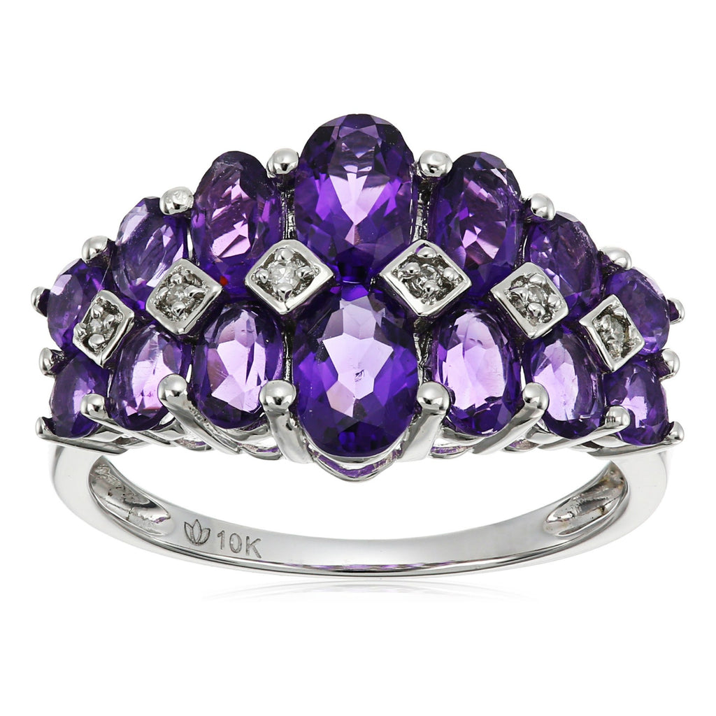 10k White Gold African Amethyst and Diamond Accented Band Ring - pinctore