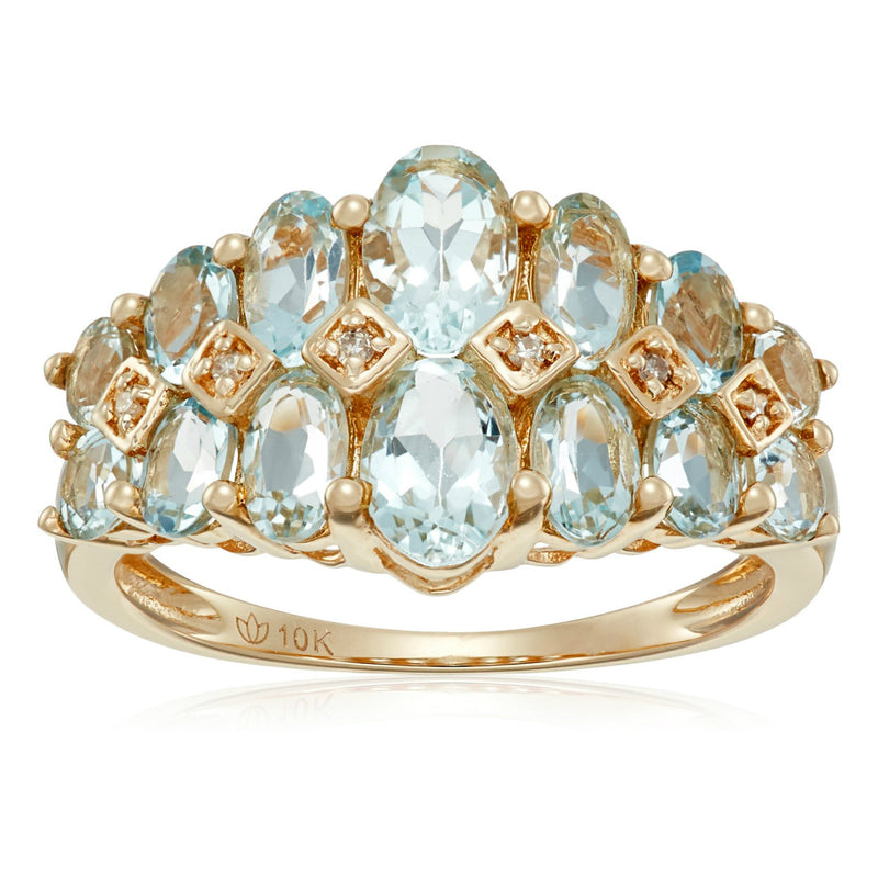10k Yellow Gold Aquamarine and Diamond Accented Band Ring - pinctore
