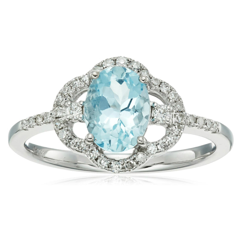 Pinctore 10k White Gold Oval Aquamarine, Diamond Solitaire Ring - pinctore